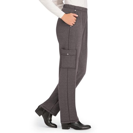 Women's Soft Jersey Knit Cargo Pocket Pants - Lightweight, Casual Fit, X-Large, Charcoal - Made in the USA