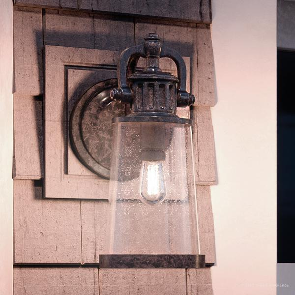 """Urban Ambiance Luxury Vintage Outdoor Wall Light, Large Size: 19.25""""H x 8""""W, with Industrial Style Elements, Historic Design, Royal Bronze Finish and Seeded Glass, Includes Edison Bulb(s), UQL1222"""