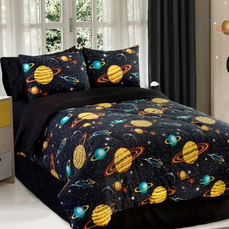 Space Galaxy Comforter Sham Set Rocket Star Bedding