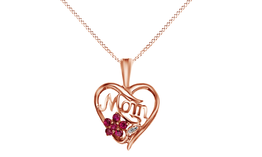 0.27 Ct Simulated Ruby Cubic Zirconia White Cubic Zirconia Mom Heart Pendant Necklace In 10K Solid Rose Gold For... by Jewel Zone US