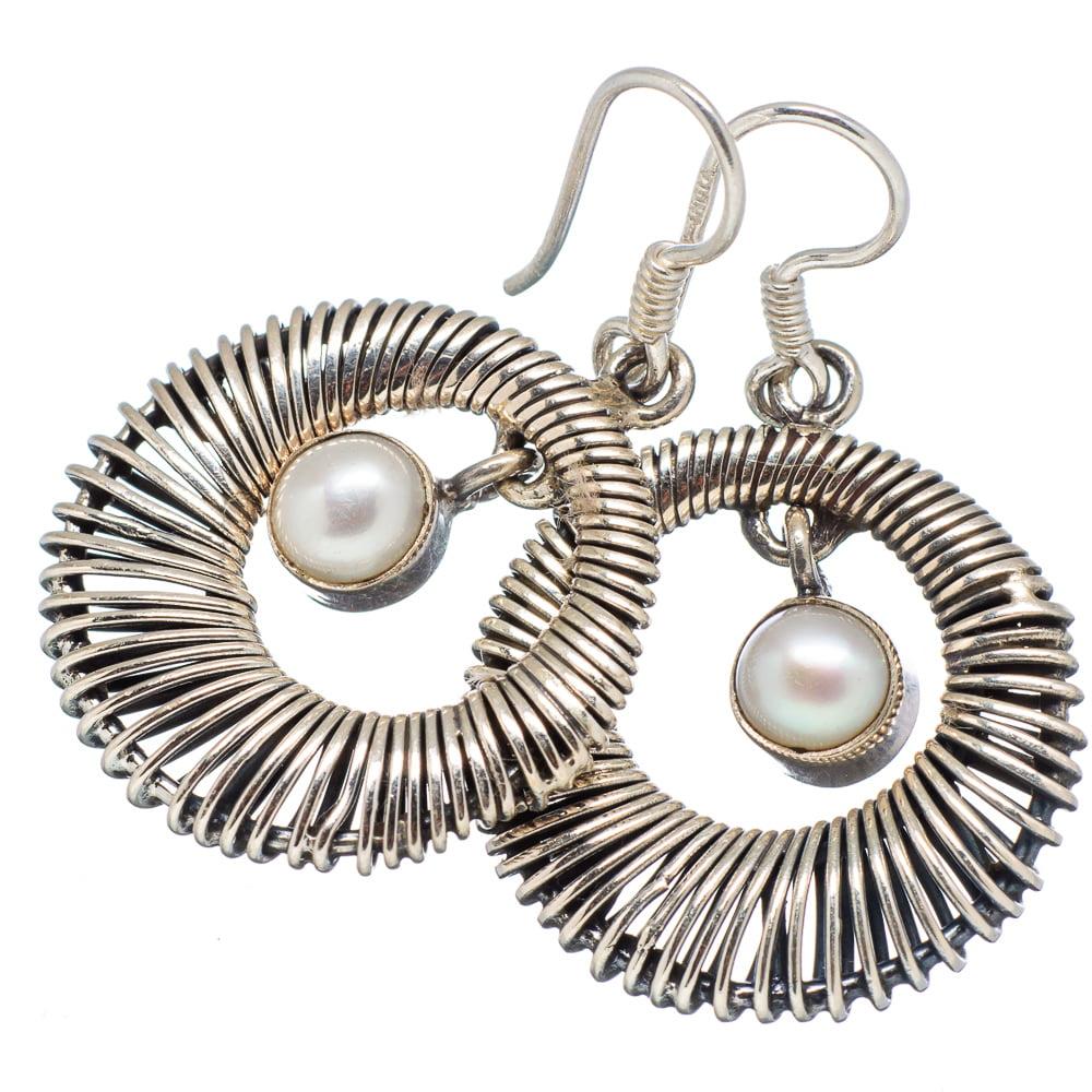 "Ana Silver Co Cultured Pearl 925 Sterling Silver Earrings 1 1/2"" - Handmade Jewelry EARR340359"