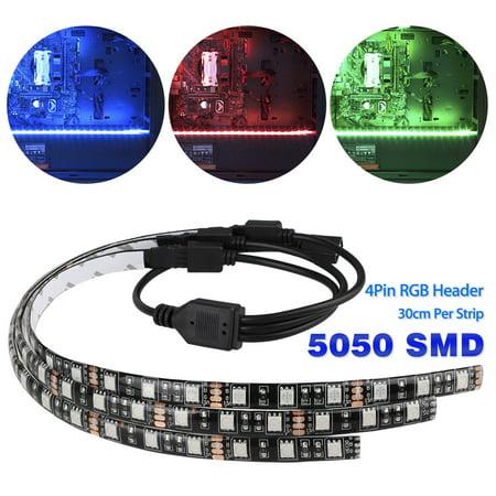 EEEKit 3Pcs PC LED Strip Lights with 4Pin Hub Adapter, RGB Gaming LED Strip Lights Case Lighting with 4Pin Hub Adapter Gamer DIY (Best Diy Gaming Pc)