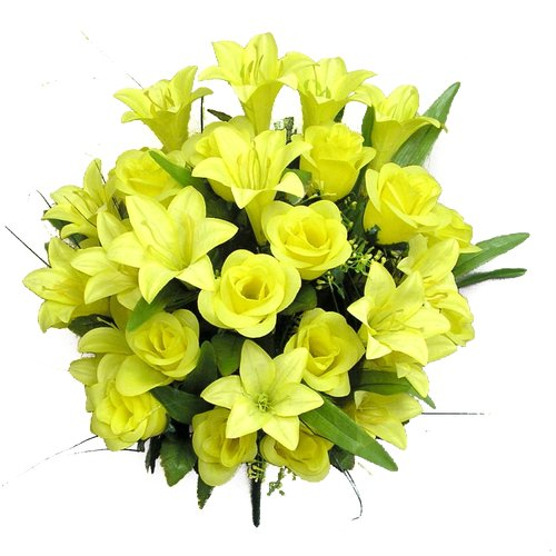 Charlton Home 36 Stems Artificial Rose Buds and Lily Foliage Mixed Bush