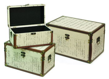 Set Of 3 Renaissance Beige U0026 Brown Print Linen Storage Boxes W/Faux Leather  Trim
