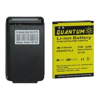 QUANTUM Samsung Galaxy Note 2 Battery, 3,100 mAh Li-Ion Battery + External Wall Charger with USB Port for the Galaxy Note 2, 12 MONTH WARRANTY