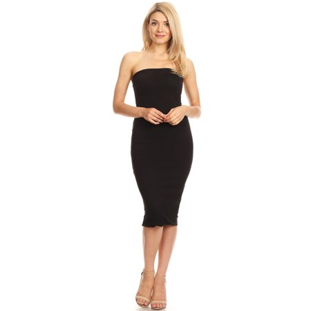 Back Tie Strapless Dress - Women's Solid Lined Strapless Mid-Length Open Back Dress