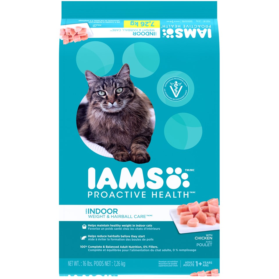 Iams ProActive Health Adult Indoor Weight & Hairball Care Dry Cat Food, 16 Lb