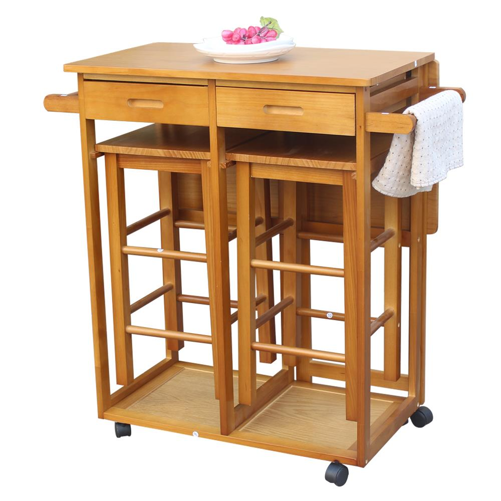 Kitchen island table with storage Rustic Ktaxon Wood Top Kitchen Island Storage Cabinet Dining Table With Drawers And Stools Walmartcom Walmart Ktaxon Wood Top Kitchen Island Storage Cabinet Dining Table With
