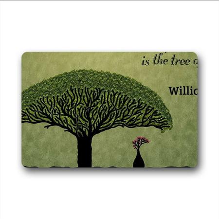 WinHome Natural Plant Tree of Life Doormat Floor Mats Rugs Outdoors/Indoor Doormat Size 23.6x15.7 inches