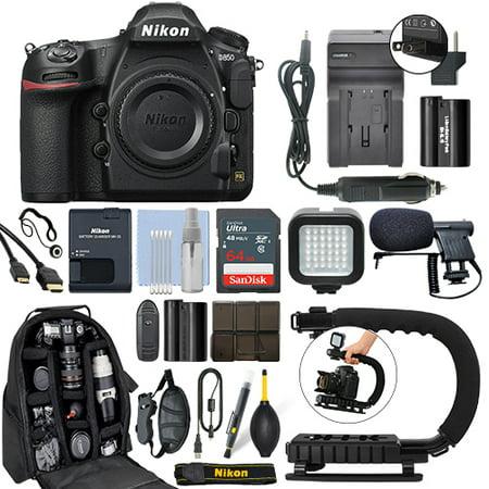 Nikon D850 45.7 MP FX Digital SLR Camera Body + 64GB Pro Video Kit