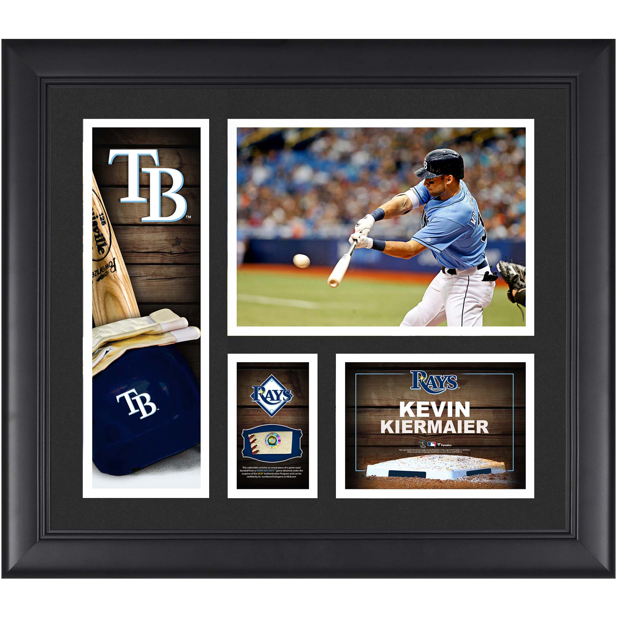 """Kevin Kiermaier Tampa Bay Rays Framed 15"""" x 17"""" Player Collage with a Piece of Game-Used Ball"""