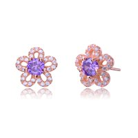 Alphabetdeal CZ Rozzato Jewelry Amyethyst Flower Earrings
