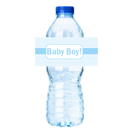 Frozen Water Bottle Labels (Blue Circles  Baby Boy Shower Party Decorations 15ct Water Bottle Sticker)