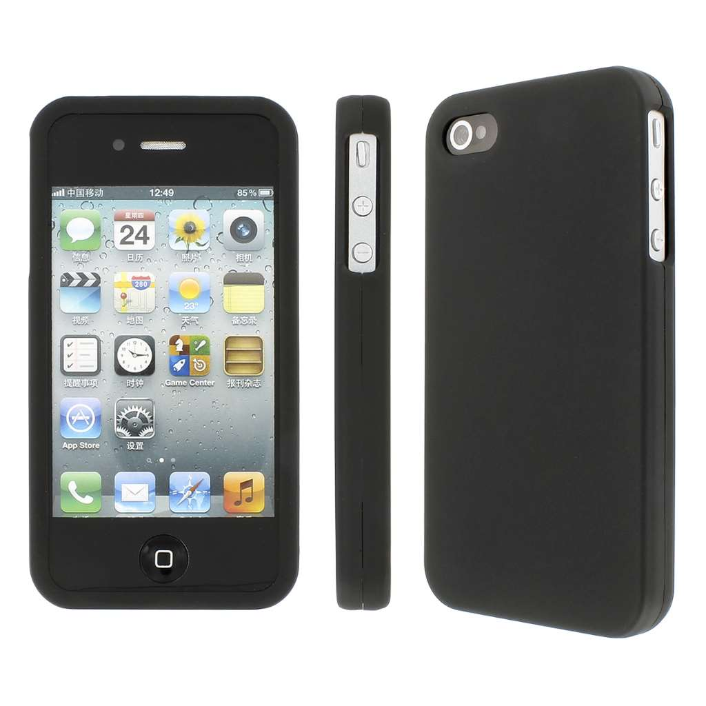 iPhone 4 / 4S Case, MPERO SNAPZ Series Hard Rubberized Case for Apple iPhone 4 / 4S - Black