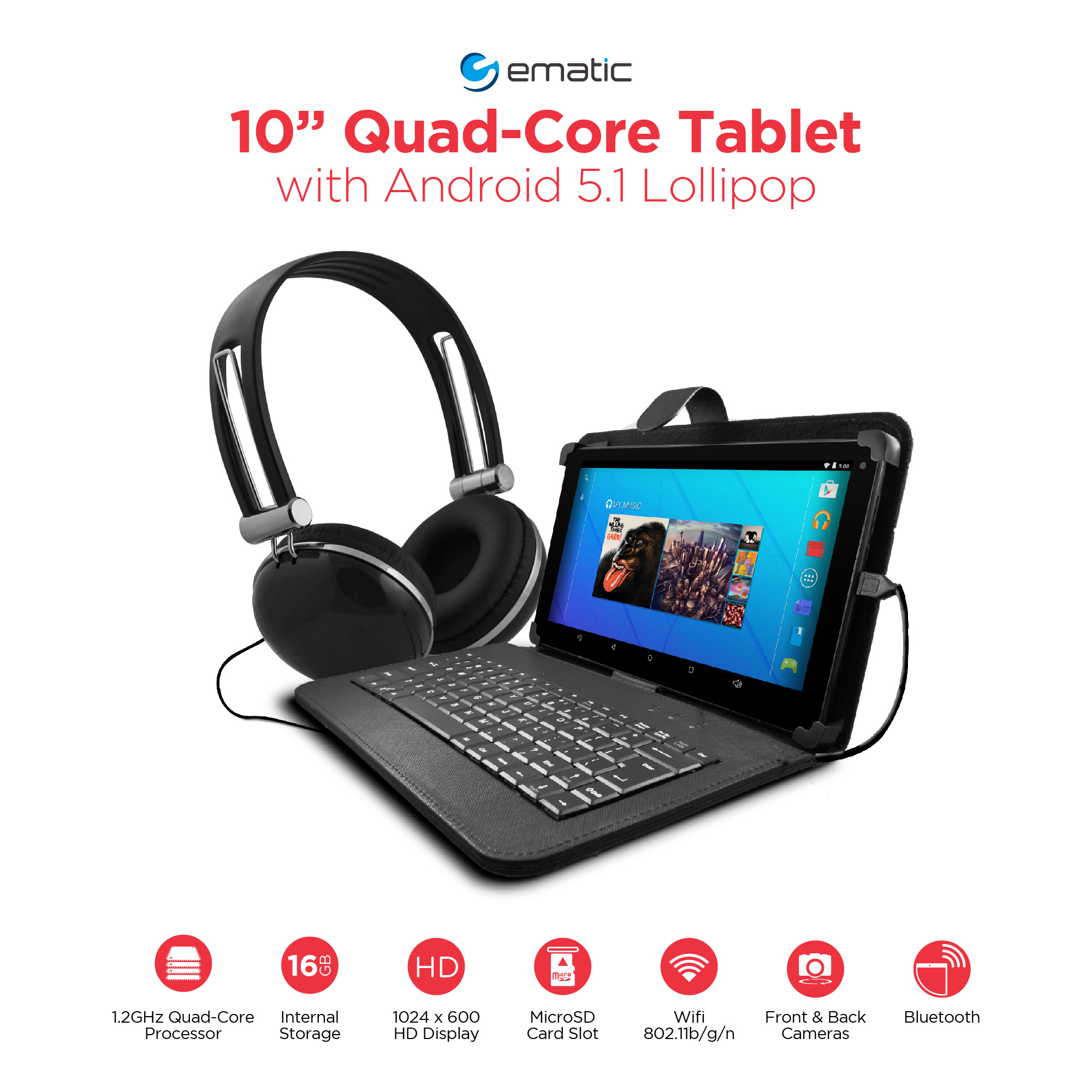"Ematic 10"" 16GB Tablet Android 5.1 (Lollipop) with Keyboard Folio Case and Headphones"
