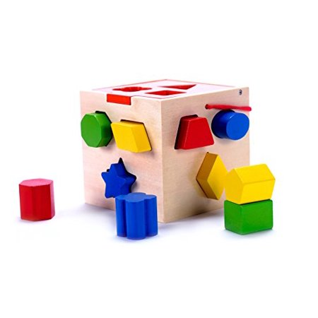 Classic Wooden Geometric Shape Sorter Cube Toy with 10 Pieces, Developmental Toy for Toddlers (Toy For 3 Year Old)