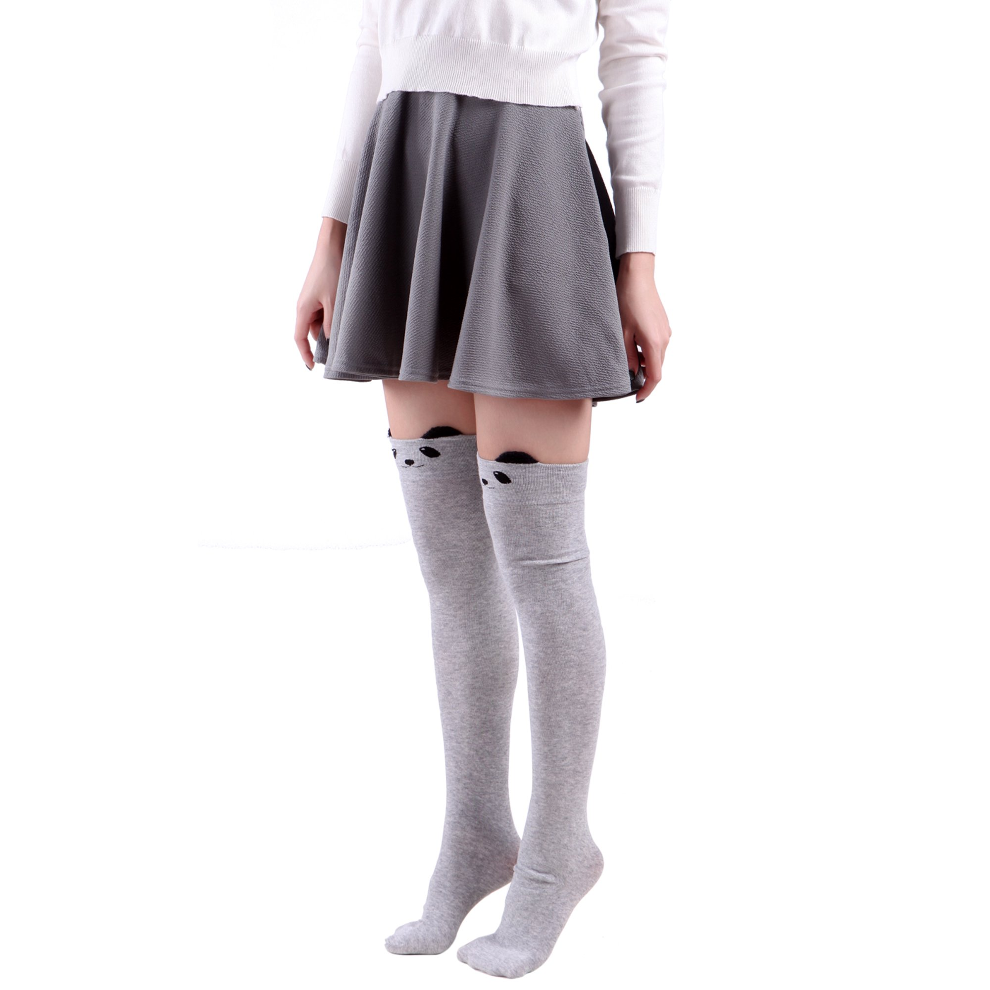 06abe94f498 HDE Women s Animal Over Knee Thigh High Socks Stockings with Ears (Gray  Panda)