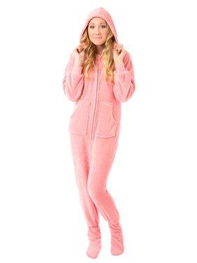 Big Feet Pjs Pink Hoodie Plush Womens Footed Pajamas Sleeper w/ Drop Seat Sleeper