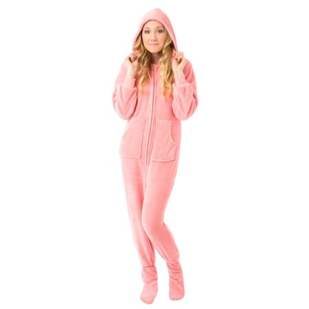 Big Feet Pjs Pink Hoodie Plush Womens Footed Pajamas Sleeper w/ Drop Seat Sleeper