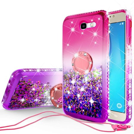 Compatible for Samsung Galaxy J7 2017/J7 Perx/J7 Prime 2017/Galaxy J7V/Galaxy Halo/J7 Sky Pro Liquid Floating QuickSand Case with Diamond Embedded Metal Ring for Magnetic Car Mount - Pink on Purple Pro Car Wear Diamond