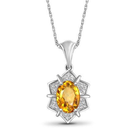 1.11 Carat Citrine Gemstone and Accent White Diamond Pendant