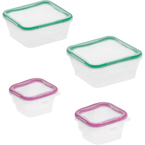 Snapware Total Solution 8-Piece Plastic Square Container Set, Clear