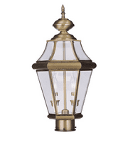 Outdoor Post 2 Light With Clear Beveled Glass Antique Brass size 21 in 120 Watts - World of Crystal