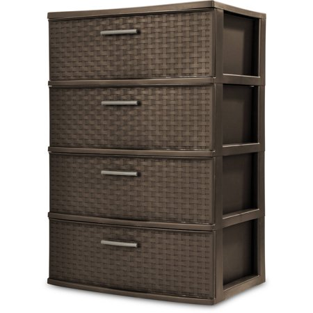 Sterilite 4 Drawer Wide Weave Tower, Espresso - Cheap Store