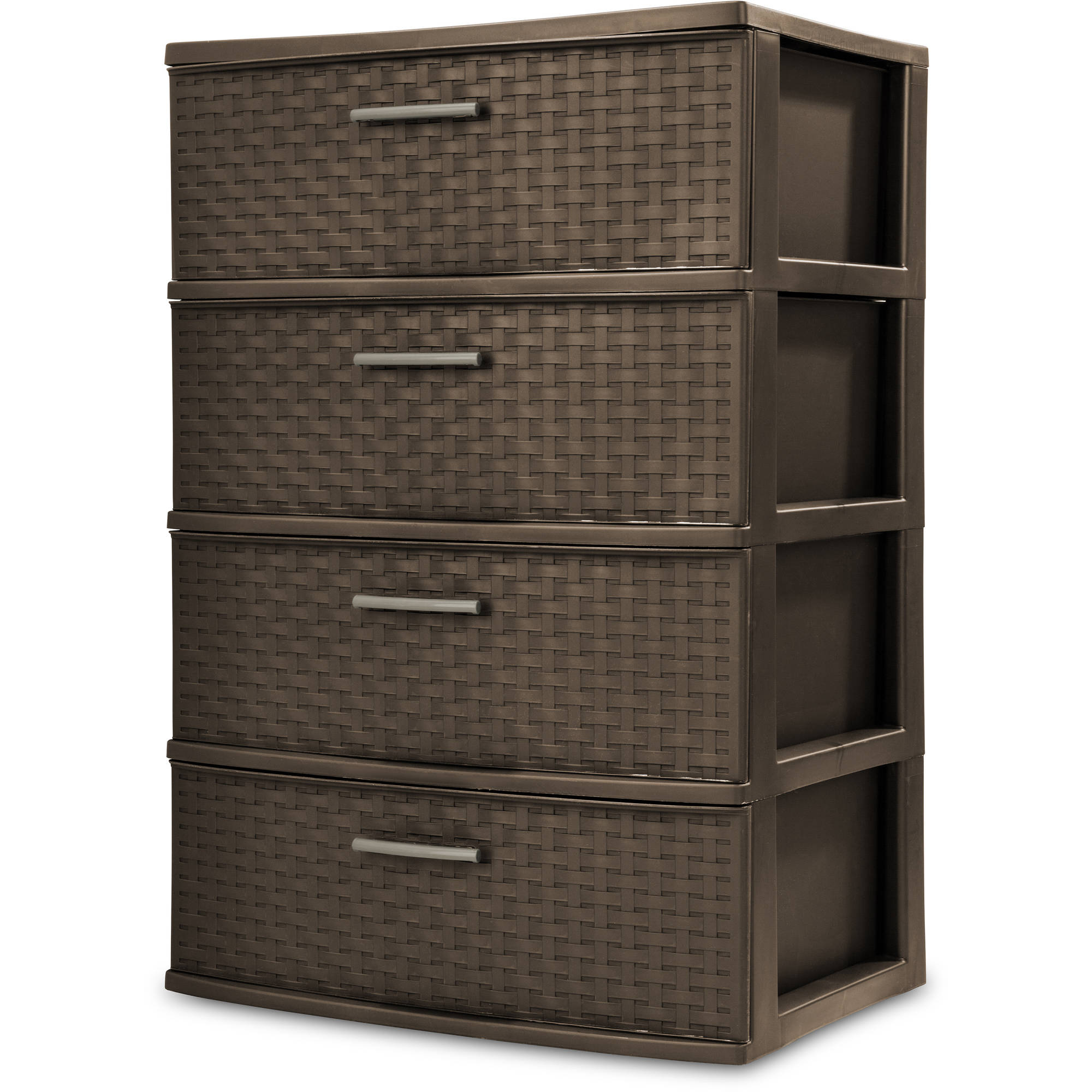 plastic drawer organizer sterilite 4 drawer wide weave tower espresso walmart 28910