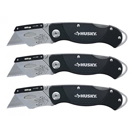 Husky Folding Sure-Grip Lock Back Utility Knives Multi Pack (3 Piece Set: 3 x Husky Knives w/ Blades) (Colors