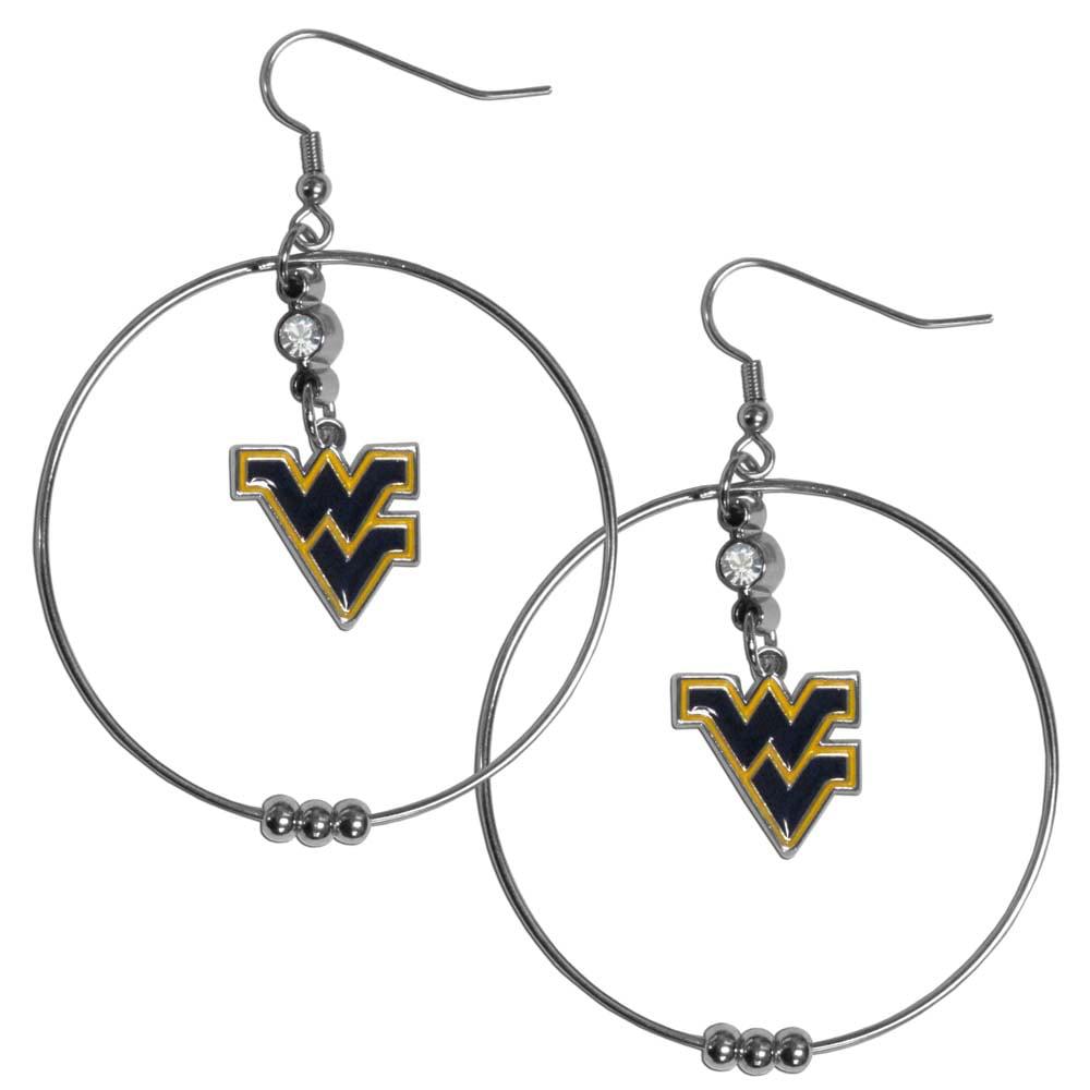 West Virginia Mountaineers 2 Inch Hoop Earrings (F)