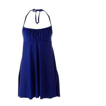 Womens Swim Cover (Eco Swim Womens Stretch Halter Dress Swim Cover-Up Blue S)