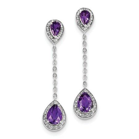 Amethyst Ruby Earrings - Sterling Silver Diamond & Amethyst Earrings (1.6IN x 0.3IN )