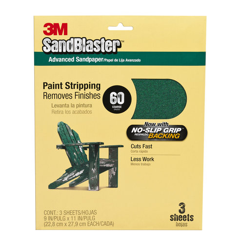 3M SandBlaster Sandpaper with NO-SLIP GRIP Backing, 3-2/3 in x 9 in, 60 grit, 5 sheets/pk