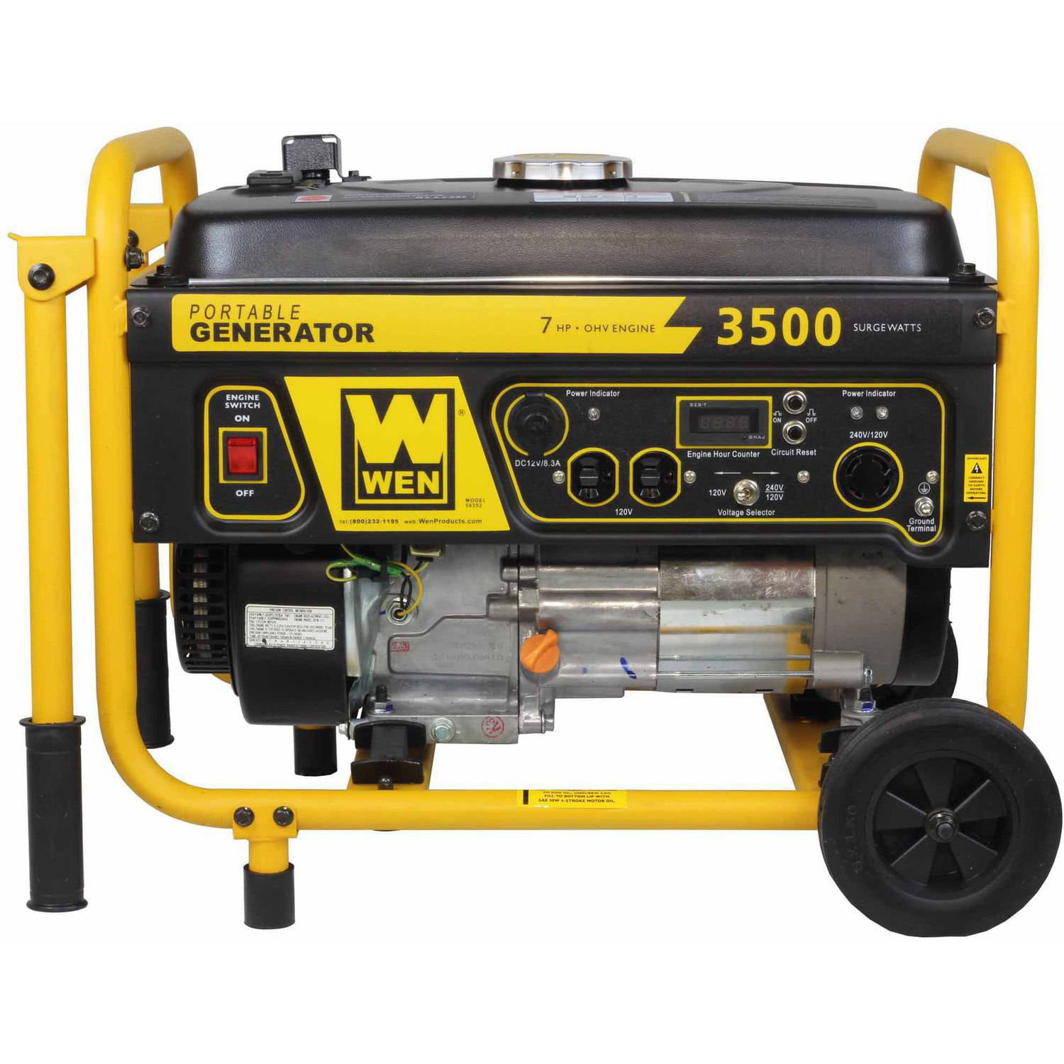 WEN 3500 Watt 212cc Portable Generator with Wheel Kit