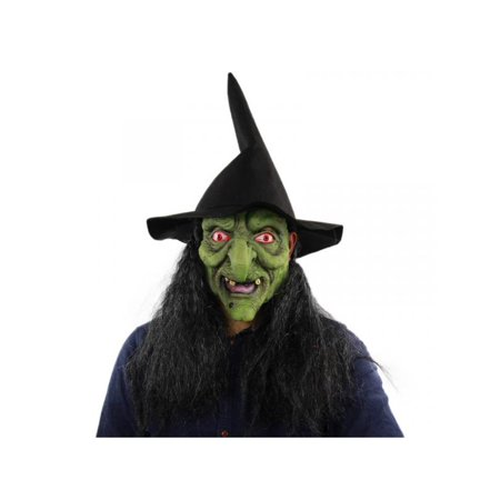 Topumt Halloween Scary Latex Green-headed Witch Mask Bar Party Porps