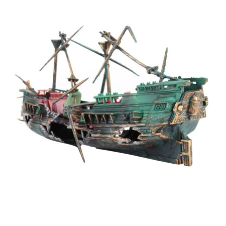 Split Shipwreck Aquarium Ornament (Sunken Ship Wreck Aquarium Decoration, Air Split Shipwreck Fish Tank Decor 24*6*13cm)