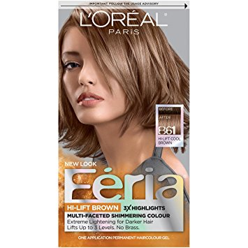 L'Oreal Paris Feria Permanent Haircolour Gel, Downtown Brown B61 1.0 ea(pack of 3)