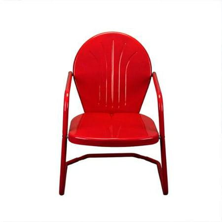 34 Quot Vibrant Red Retro Metal Outdoor Tulip Chair Walmart Com