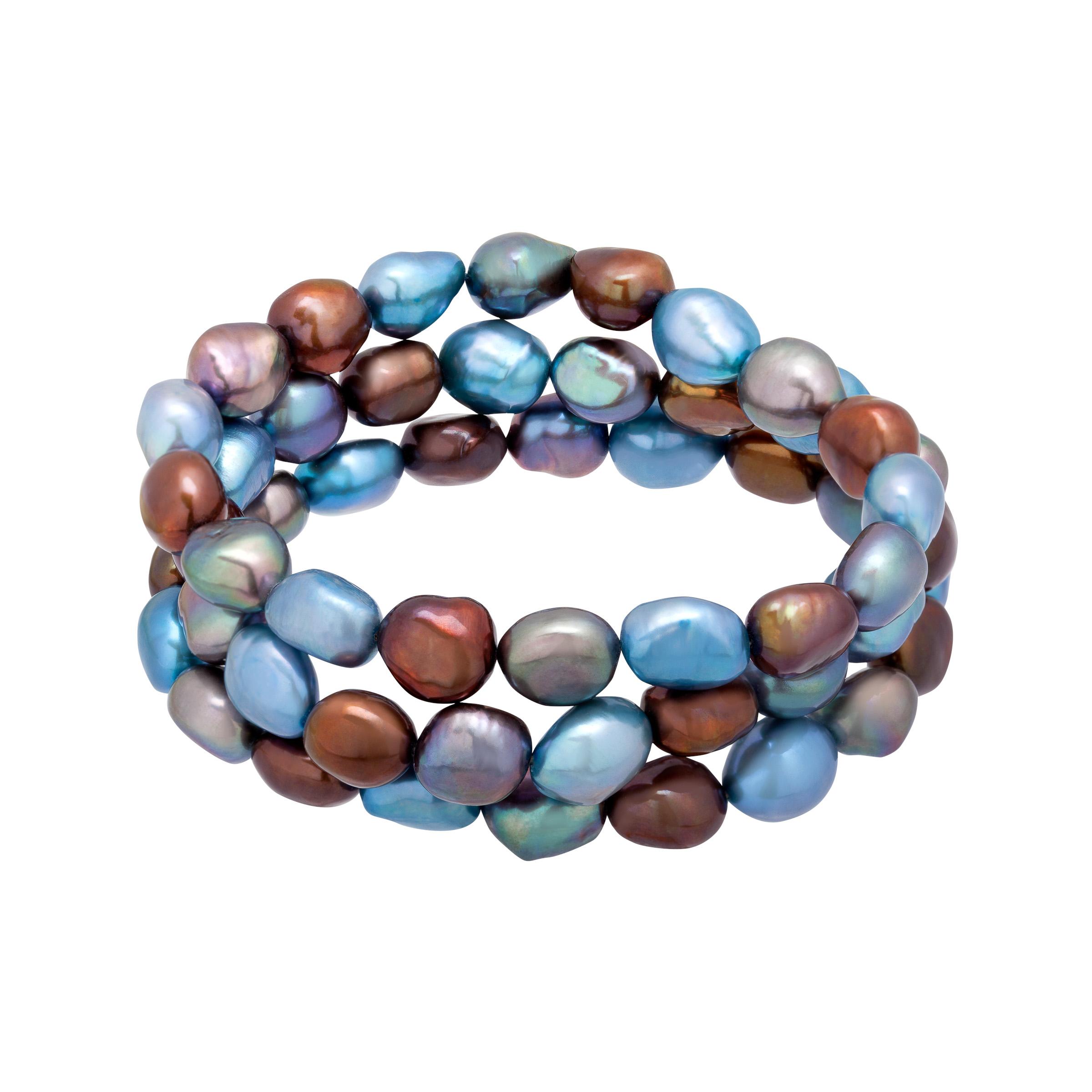 Honora Set of 3 9-10 mm Denim Baroque Freshwater Cultured Pearl Bead Bracelets