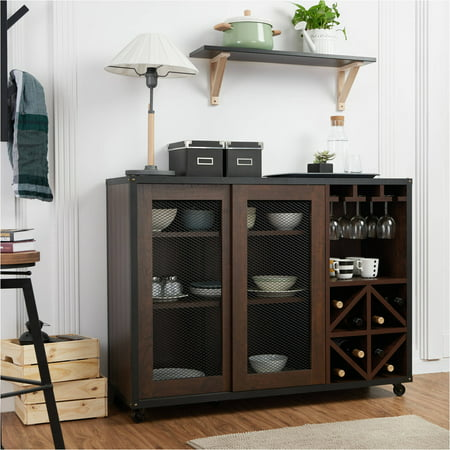 Furniture of America Francis Industrial Multi-Storage Dining Server, Walnut