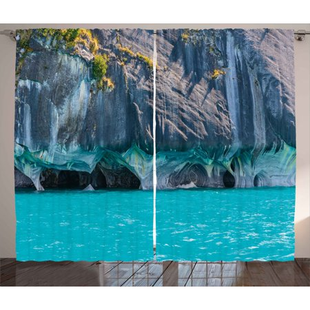 Turquoise Curtains 2 Panels Set, Marble Caves of Lake General Carrera Chile South American Natural, Window Drapes for Living Room Bedroom, 108W X 63L Inches, Turquoise Purplegrey Green, by Ambesonne ()