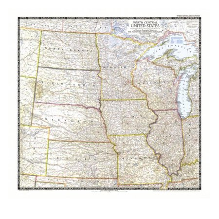 1948 North Central United States Map Print Wall Art By National ...