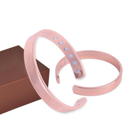 2018 New Upgraded Practical Magnetic Copper Bracelet Therapy Arthritis Healing 12 Magnets Men Women Cuff Bracelet Bends To Adjust Copper Color