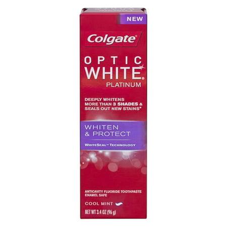 Colgate optique Blanc platine Dentifrice, Whiten et protéger - 3.4 Oz, Pack 2