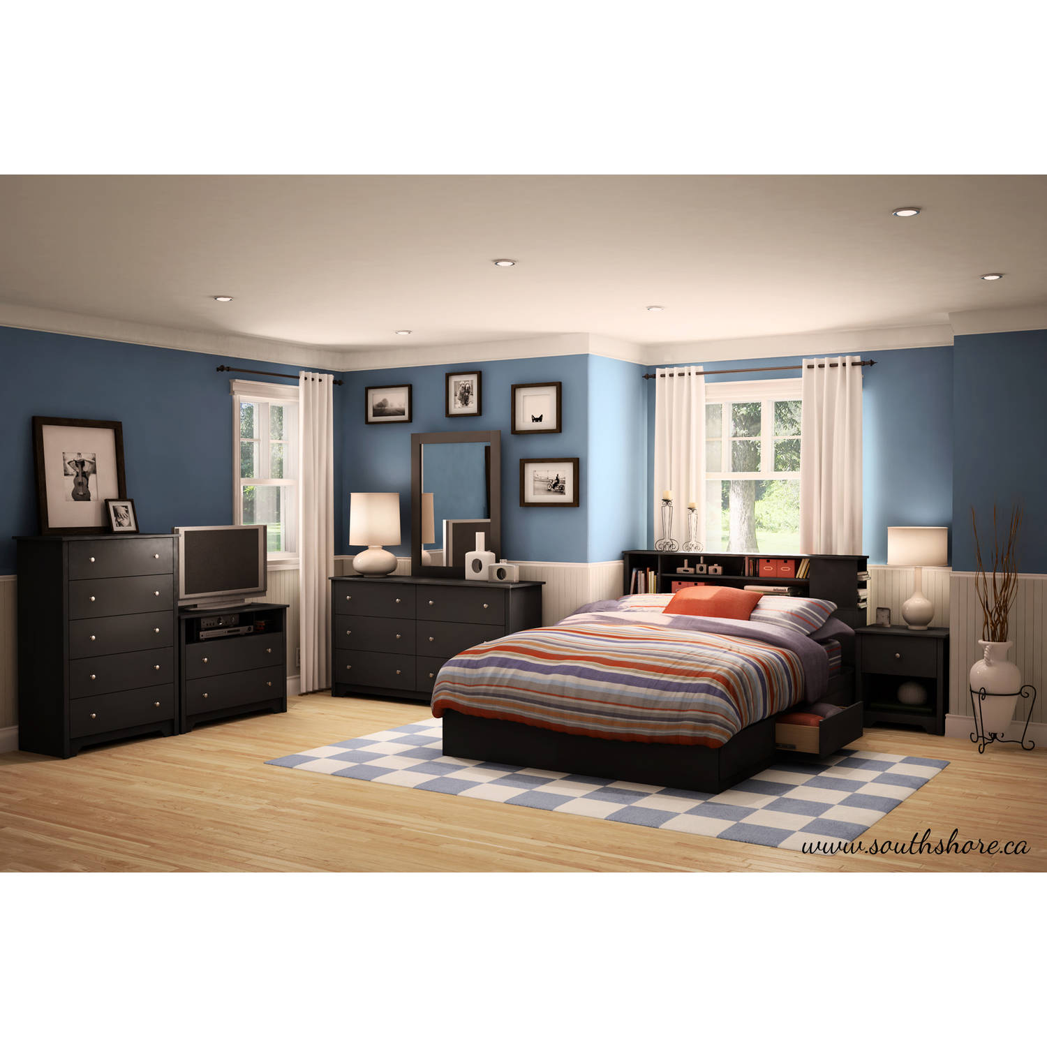 Bookcase Bedroom Furniture South Shore Vito Full Queen Bookcase Headboard 54 60 Multiple