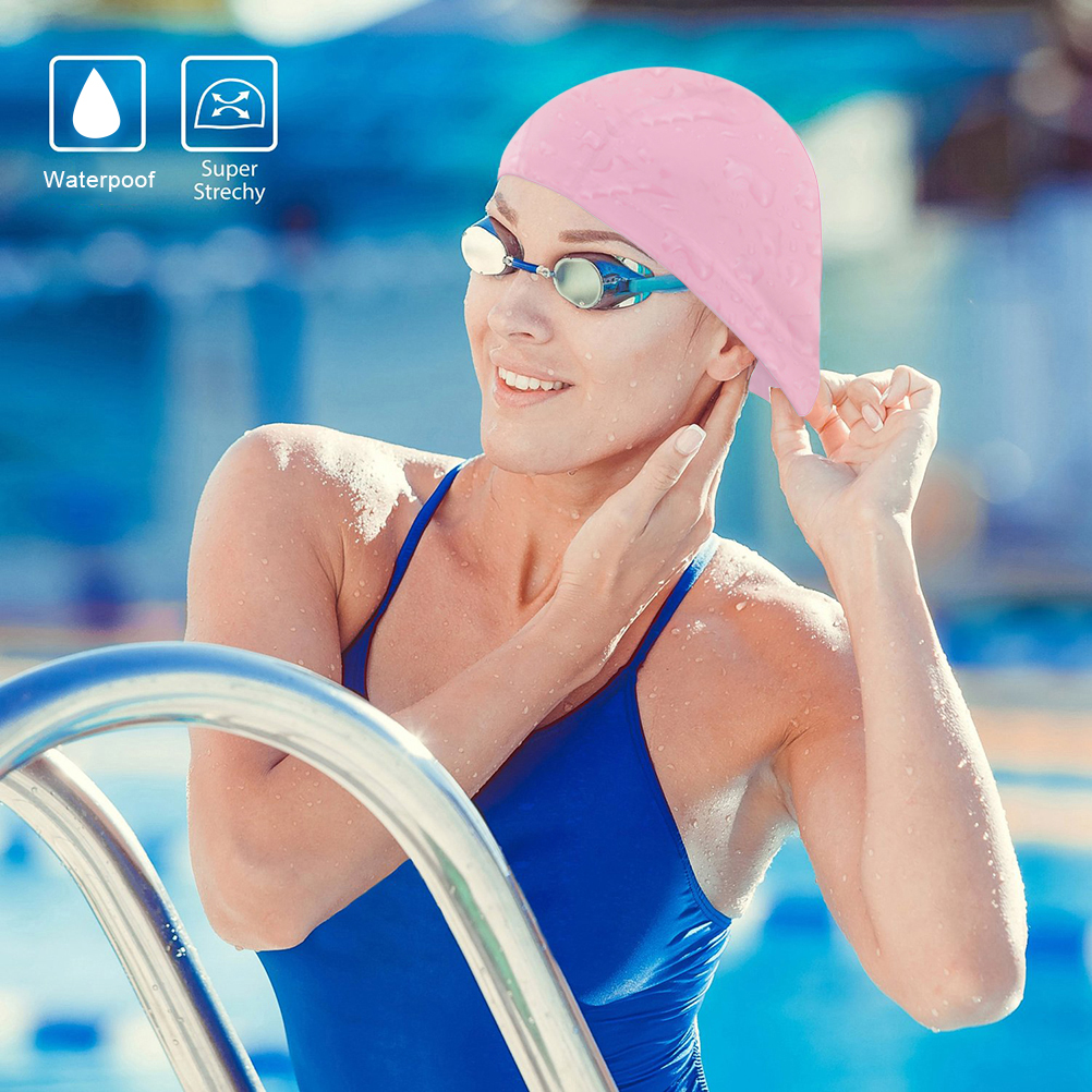 Nlife Large Lycra Swim Cap Fabric Waterproof Swimming Hat for Long, Thick, or Curly Hair for Adult Men Women With Nose... by