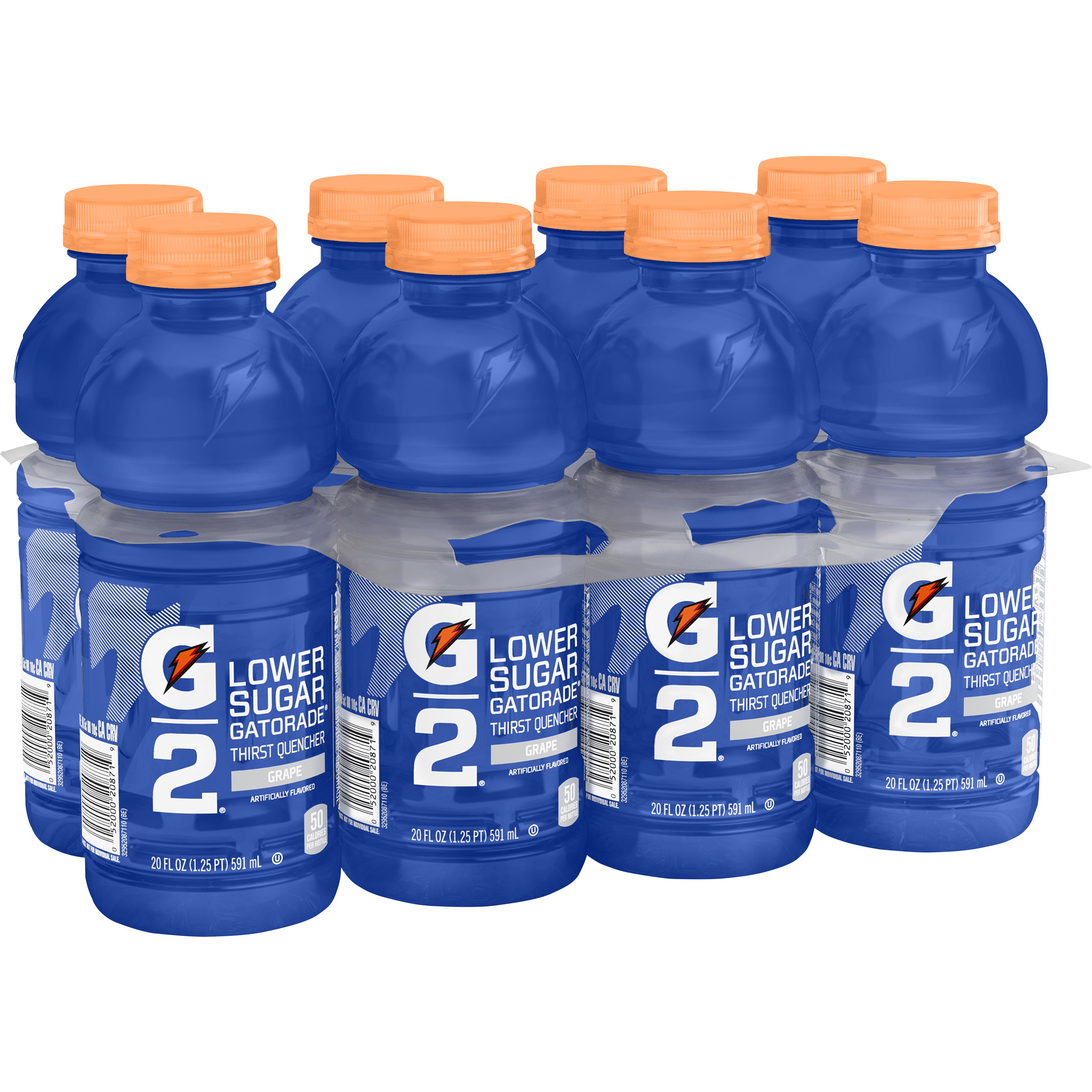 G2 Lower Sugar Gatorade Thirst Quencher Sports Drink, Grape, 20 Fl Oz, 8 Count