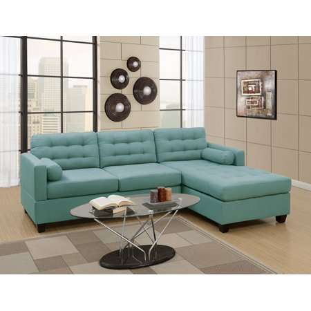 modern 2pcs sectional sofa laguna linen like fabric tufted sofa reversible chaise retro design living room - Chaise Retro