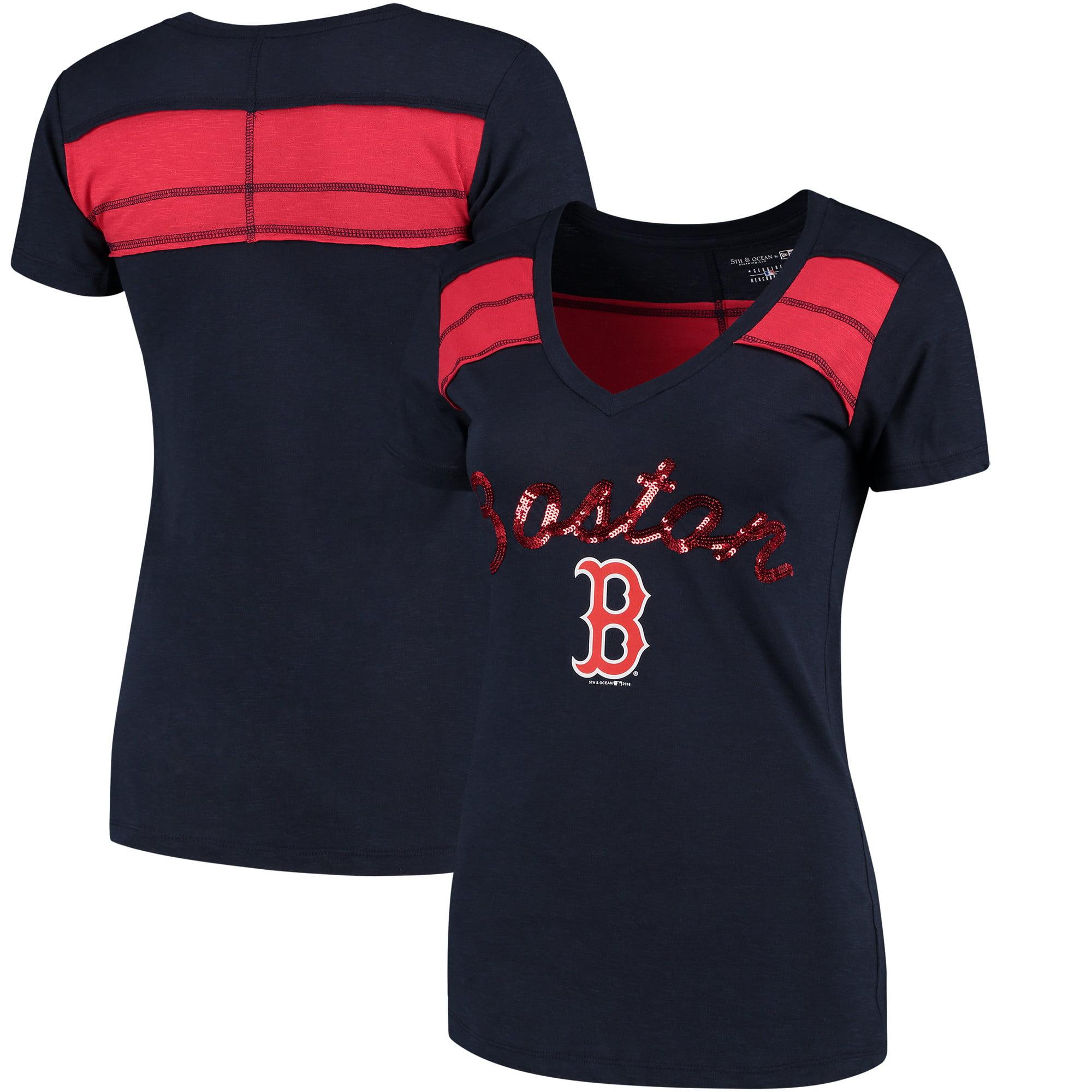 Boston Red Sox 5th & Ocean by New Era Women's MLB Slub V-Neck With Contrast Inserts T-Shirt - Heathered Navy